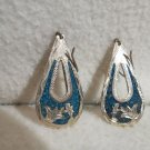Vintage Turquoise and Sterling Silver  Mexico Gorgeous Large Pierced Earrings