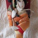 Vintage Japanese HAGOITA BATTLEDORE Geisha Painted Paddle Doll Kanzashi