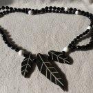 Vintage Carved Leaf  Necklace With Black Beads