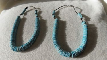 Super Cool Lot of 2 Necklaces with Tons and Tons of Turquoise Disks Hippie Look