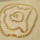 New Gorgeous Bridal Set of 4 Faux Pearl Bracelet 2 Necklaces Earrings