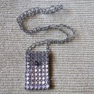 Gorgeous Hand Beaded Black White and Silevr Designer Cell Phone Purse Holder