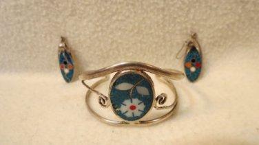 As is  Set of Vintage Silver Bracelet and Piereced Earrings
