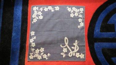 So Cool Dark Hankie With L Monogram True Vintage Handkerchief Hankie