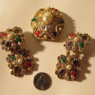 Spectacular Unsigned Vintage Designer Pin & Matching EArring Set Clip on