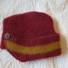 Vintage Doll or baby Hat Burgundy & Yellow Knit Cap
