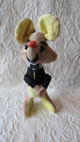 Super Cute Vintage Stuffed Treasure Pet Mouse Doll With Tuxedo Top