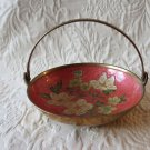 Gorgeous Vintage Cloisonne & Brass Bowl With Handle