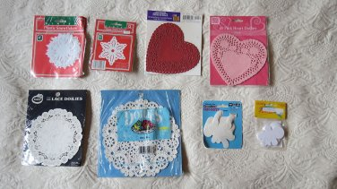 Lot of 8 Packages of Paper Die Cut Doilies Valentines Winter & More