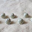 Lot Of 8 Handpainted White Green  Ceramic Decorative Cabinet Door Pulls