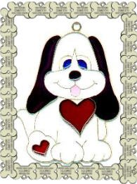 FREE SHIPPING!!!  Dog Heart Suncatcher Stained Glass (Puppy)