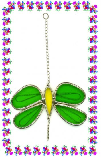 FREE SHIPPING !! Dragonfly Suncatcher Stained Glass