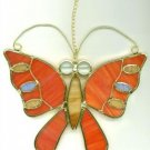 FREE SHIPPING !! Orange Butterfly Glass Suncatcher Stained Glass