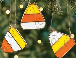 set of 3 Candy Corn HALLOWEEN Stained Glass Suncatchers