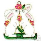 FREE SHIPPING !! Easter Kissing Bunny Rabbit Suncatcher Stained Glass