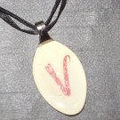 V INITIAL MONGRAM Spoon Pendant / Necklace   Upcycle