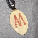 M INITIAL MONGRAM Spoon Pendant / Necklace   Upcycle
