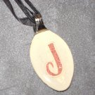 J INITIAL MONGRAM Spoon Pendant / Necklace   Upcycle