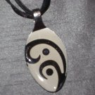 BLACK WHITE SCROLL Spoon Pendant / Necklace   Upcycle