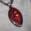 RED BLACK SCROLL Spoon Pendant / Necklace   Upcycle