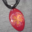 TROPICAL FLOWER Spoon Pendant / Necklace   Upcycle