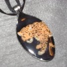 LEOPARD CHEETAH Spoon Pendant / Necklace   Upcycle