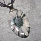 BLACK WHITE DAISY Spoon Pendant / Necklace   Upcycle
