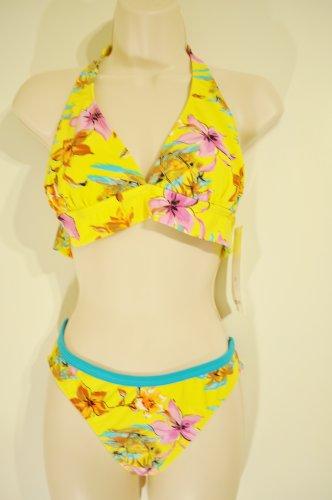 Yellow Floral Aqua Marina swim set