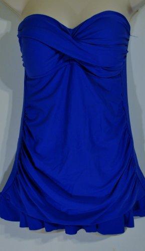 Blue strapless one piece swim dress. Size 8