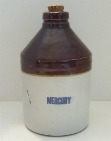 VINTAGE MERCURY STONEWARE CROCK JUG PHARMACY DRUGSTORE GLAZED POTTERY RARE