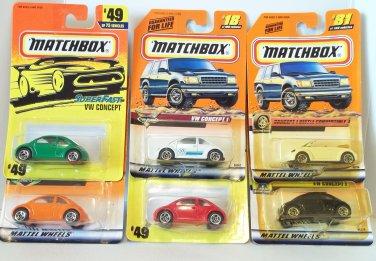 MATCHBOX 6 CAR LOT VW CONCEPT 1 BEETLE CONVERTIBLE #42 #18 #81 #49 #17 #49 NRFP
