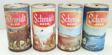 VINTAGE SCHMIDT OUTDOOR HORSES RODEO BEAR FISHING INDIAN STEEL BEER 4 CAN LOT