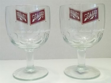 VINTAGE SCHLITZ BEER THUMBPRINT GOBLET RARE MILWAUKEE COLLECTIBLE BREWERIANA ADVERTISING