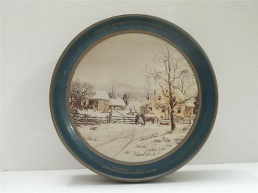 VINTAGE CURRIER & IVES NEW ENGLAND WINTER SCENE PLANTATION OF SANDWICH TIN