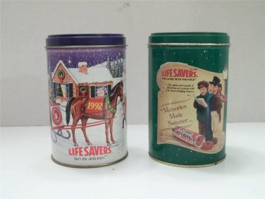 VINTAGE LIFESAVERS HOLIDAY CHRISTMAS TIN 1990 1992 2 PIECE LOT