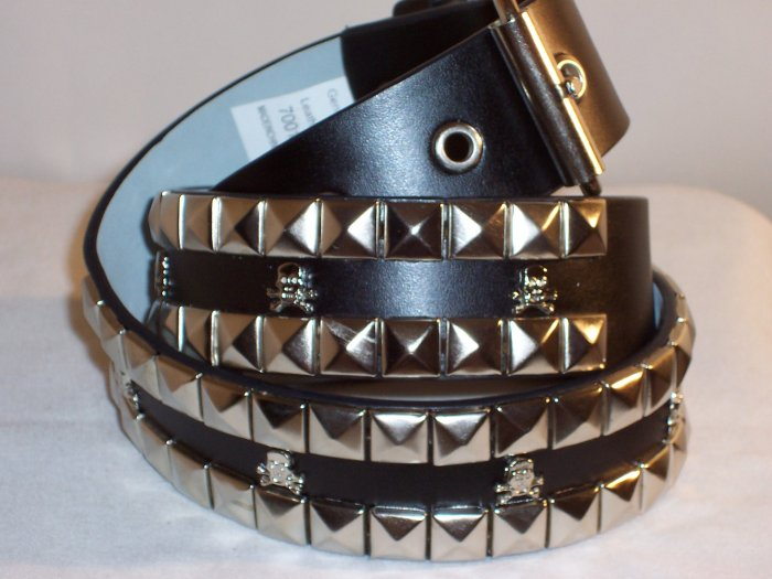 2 ROW PYRAMID SKULL& BONES LEATHER BELT BLACK SZ L