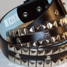 2 ROW PYRAMID SKULL& BONES LEATHER BELT BLACK SZ M 36