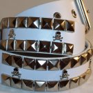 2 ROW PYRAMID SKULL & BONES LEATHER BELT WHITE SZ S 32