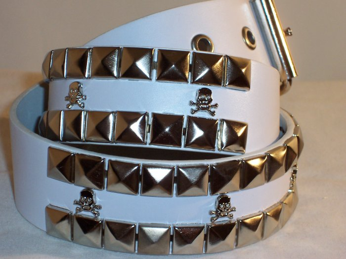 2 ROW PYRAMID SKULL & BONES LEATHER BELT WHITE SZ XL 44