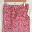 "NEW  G.H. Bass - ""Mirandy Rose"" Pink Floral Straight Skirt 12"