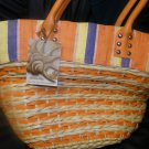 NEW SUN AND SAND STRAW PURSE ORANGE CREAM NAVY