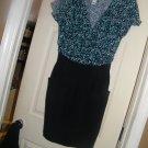 NEW MANGO BLOUSON V NECK DRESS FLORAL BLACK L