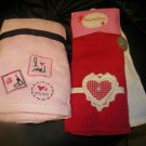 NEW VALENTINES 2 CASABA HAND TOWELS 2 HUGS & KISSES KITCHEN TOWELS