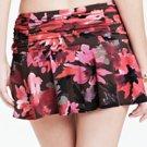 NEW LAND'S END Beach Club Tummy Control Flounce Mini SwimMini Swim Skirt - Floral BROWN 16