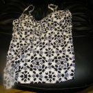 NEW LAND'S END Mosaic Adjustable Scoop Tankini Top BLACK WHITE 4