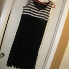 NEW PERCEPTIONS EMPIRE WAIST MAXI DRESS BLACK WHITE CROCHET 10