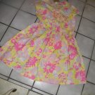 NEW GIRLS LAND'S END GOLDEN SUN FLORAL SS DRESS RUFFLE 14