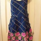 NEW XHILARATION SPAGHETTI STRAP SUNDRESS PLAID FLORAL NAVY XS