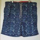NEW MEN'S LAND'S END SWIM TRUNKS VOLLEY SHORTS BLUE BATIK TROPICAL XXL 44-46