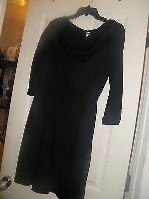 New Women's mossimo Long Sleeve  Drape Neck Black Dress M